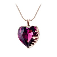 Design New Gorgeous Crystal Heart Pendant Sweater Chain Long Necklace