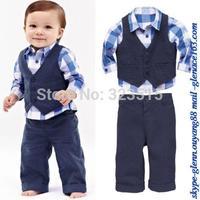 Hot Sales2-5 Y New Autumn Kids Childs Baby Boys Shirt + Vest + Pants Sets Suit Outfits 3PCS