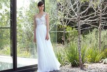 Romantic Applique One Shoulder Silk Chiffon Wedding Dresses A Line Sheer Back Floor Length Cheap Bridal 2015 Wedding Dress Beach(China (Mainland))