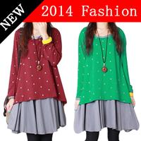 Christmas 2014 autumn winter plus size women casual long sleeve dress vestidos femininos dot print patchwork dresses xxxl 1112H