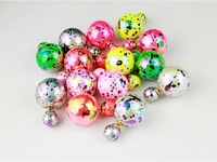 Hot Selling 2014 Multicolor Fluorescent Imitation Pearl Stud Earrings, Double Neon Pearl Stud Earring For Women's Gift 4 colors