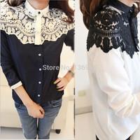 Free shipping 2014 New style women lace patchwork blouse shirts Cape-style chiffon casual shirt stitching lady clothing Q256