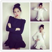 2015  new fashion women autumn  casual  elegant slash neck dresses with fishtail trumpet dress