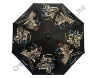 5 times black coating,100%sunscreen,UPF>50+,parasol,8k ribs,three fold auto open&auto close umbrellas,windproof,black,promotion