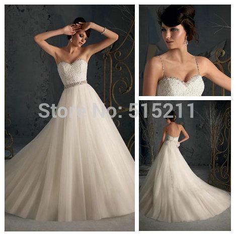 2Removable Spaghetti Straps Ball Gown Princess Wedding Bridal Dresses New Fashion 2013 Diamond(China (Mainland))