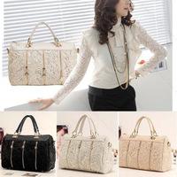 Crossbody Bags For Women Zipper PU Leather Messenger Bag Tote Shoulder Bag Lace Metal Handbag
