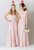 Elegant New Pink Bridesmaid Dresses 2015 V Neck Chiffon Long Bridesmaid Gown Formal Pleats Prom Dress Party Gown H506