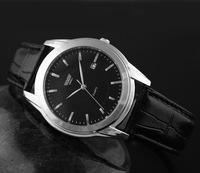 Hot 2014 new men's leather high-end business calendar watch, quartz watch fashion trends. Watch. Factory direct. Free shipping