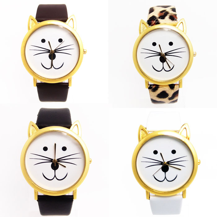 Scolour 1PC Fashion Women And Mens Lovely Cats Face Faux Leather Quartz Watch(China (Mainland))