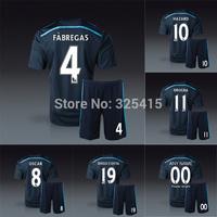 2014 Chelsea third black soccer uniforms jersey shirt with short football kits fabregas oscar drogba hazard diego costa Schurrle