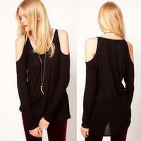 LONG SLEEVED BLACK Strapless long paragraph folds T-shirts slim female bottoming shirt