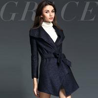 2014 fashion brief fashion triangle net colored ruffle collar slim irregular sweep overcoat