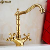 Fashion faucet gold copper bathroom american vintage basin double antique faucet