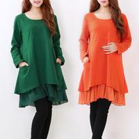 2014 Fall Winter Maternity Sweatshirt Tops Cotton Patchwork Chiffon Fat Women Dress Pullovers Loose  Pregnant Ruffles Dresses