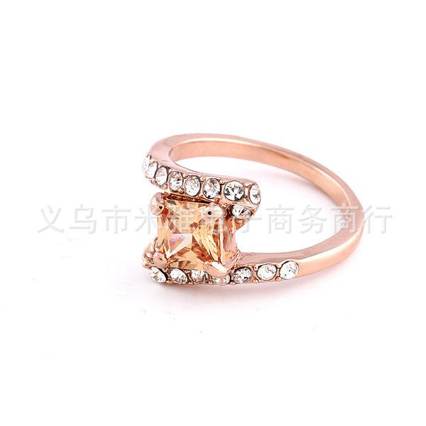 The Gorgeous Rose Gold Plated Noble o Ring o creative luxury romantic exquisite zircon set rhinestone