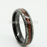 Fashion Unique Mens Women Laser Black Tungsten Carbide Ring Inlay Real Wood SIZE 5 6 7 8 9 10 11 12 13 w/ Velvet Box