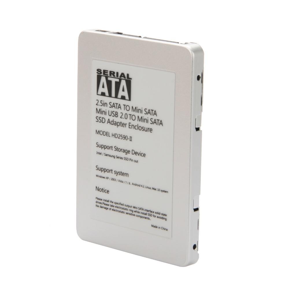 """New 1.8"""" mSATA SSD to 2.5"""" SATA + USB 2.0 HDD Enclosure Case Adapter Aluminum(China (Mainland))"""