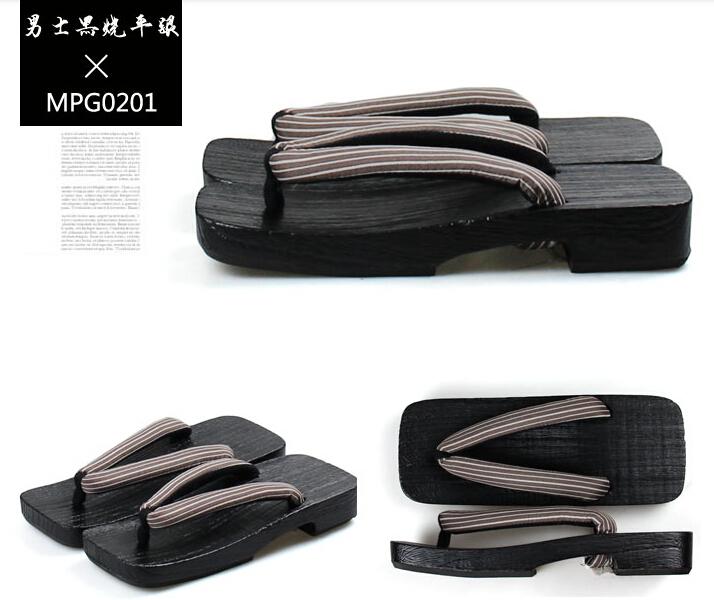 Moda japonesa chinelos de verão clássico masculino tinta preta tamancos Cosplay(China (Mainland))