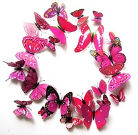 Free shipping Pretty DIY 3D Butterfly Wall Sticker Decal Home Decor Room Decorations Art Pink