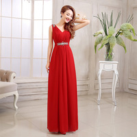 2014 new cheap red white sequined chiffon bridesmaid dresses under $50 prom wedding party dress CL1411121