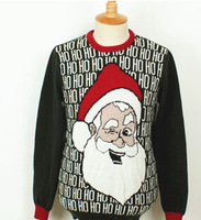 2014 men's hedging sweater Santa Claus Christmas cartoon images Men pullover sweater Cotton  O-Neck collar free shipping