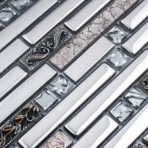 gray color stainless steel mixed electroplating glass tiles for kitchen glass backsplash tile bathroom shower tile mosaic border(China (Mainland))