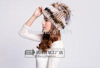 D50 Female autumn winter plus size rabbit Thicken fur hats leather caps thermal women warm Ear protection fox fur hats