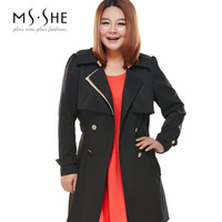 Msshe plus size clothing 2014 autumn turn-down collar slim medium-long trench female 7562