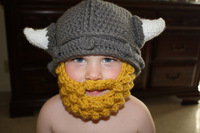 Custom made  vikings horn hat with Bearded mask baby boys Crochet Hat newborn Photography Prop 100% cotton
