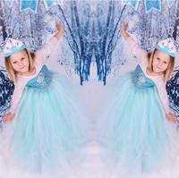 ree shipping! frozen dress 2014 Frozen Elsa Anna costume princess dress sequined cartoon costume Free shipping girls dresses.