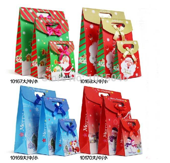 Free Shipping 12 X Larger New Creative Santa Claus Christmas Gift Bag Candy Box Paper Bag Christmas Favor Supplies(China (Mainland))