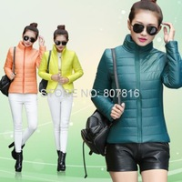 Winter jacket women's long-sleeve wadded jacket short design cotton-padded jacket stand collar S-3XL