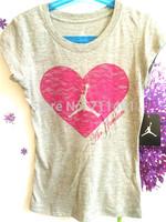 Free shipping! new arrival Jordan gray pink heart  Women short sleeve t shirt summer tops tees