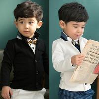 2015 Fashion Preppy Style  Boy Outerwear Coat Autumn 100% Cotton V-neck Long-sleeve Children's Clothing