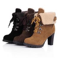 2014 new fashion female artificial fur leather boots ankle heels women boots autumn winter shoes woman #ZJJ44