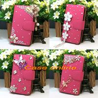 1 Pcs handmade 3D Bling Flower Tower Angel Butterfly Bow Flip PU Leather Case For LG G2 Mini D618 D620