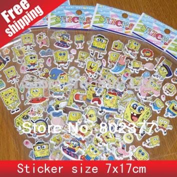 ALL Free Shipping Mix 50kinds 1000pcs/lot puffy SPONGEBOB sticker(7.5*21cm) Sticker /Children Fashion Decoration 3d Stickers(China (Mainland))