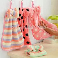 On Sale 2Pcs New Dot Towel Microfiber Kids Children Absorbent Hand Dry Hand Towel Lovely Towel For Kitchen Bathroom Use