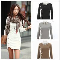 Hot New Fashion Women Winter Package Hip Dress Simple Round Neck Long-Sleeved Cotton Knit Rows Of Buttons Casual Dress