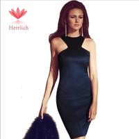 New Brand Women Formal Dress 2014 Women Summer Dress Navy Blue Midi Dress Sexy Solid Sheath Dreess Vestidos De Fiesta D10981