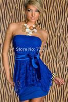 2015 New Night Club Style Women Strapless Dress Mini Lace Dress  Ladies Sexy Tight Clothing Black Blue Green White HD022