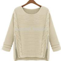 Hot sale Fashion 2014 Women New Long Sleeve Pullovers celebrity style winter Zipper knitwear Sweater Cheapest free shipping