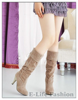 Hot Sale Suede Knee High Boots 9CM High Heel Flock Women Long Boots Shoes Plush Inside Warm Lady's Shoe 028
