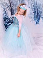 New 2015 Girl Clothes Dress Elsa Anna Children's Clothing 100% Cotton Baby Kids Girls Dresses Cartoon Sequined Dresses!