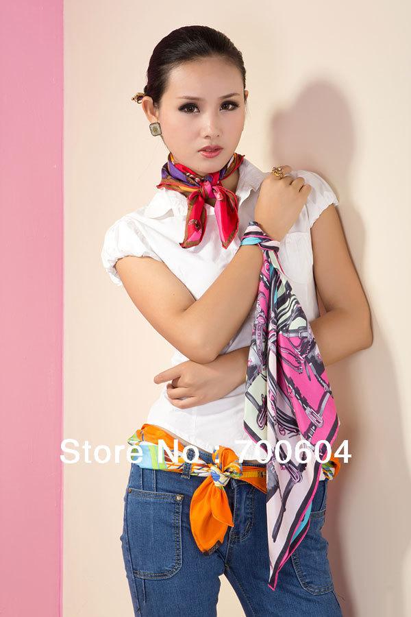 colorful ornament short scarves Silk Spring Autumn Winter Women Square Scarf Pashmina Gift Scarves girls ladies Bandana(China (Mainland))