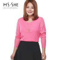 Msshe plus size clothing o-neck long-sleeve basic shirt gauze T-shirt slim waist 6651