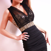 Sexy womens dress low cut mesh perspective dew backpack hip tight sequined lace dress