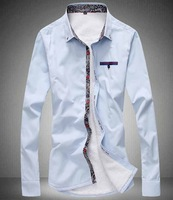 Men's Single-breasted Color Matching Wool Thickening shirt   Fashion   Free-shipping New 2014 warm  winter