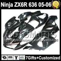 7gifts+Tank Cover Fairing For KAWASAKI NINJA ZX6R 05-06 all black ZX 6R 636 JK7 ZX-6R ZX636 05 06 2005 2006 all glossy black