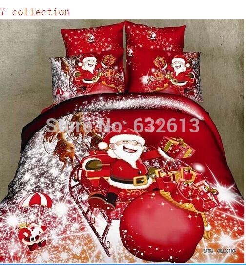 boa qualidade presente de natal 4 pcs 100% algodão 3d cama queen set rei capas de edredão de tamanho travesseiro folha colcha colchas 7 collectio(China (Mainland))
